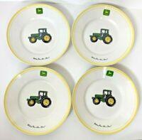 "Set 4 JOHN DEERE Tractor 9"" Salad Plate Nothing Runs Like A Deere Gibson Yellow"
