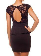 SeXy Miss Schößchen Peplum Mini Kleid Spitze Dress out cut 34/36/38 braun NEU