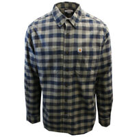 Carhartt Men's Relaxed Fit Navy Grey Box Plaid L/S Woven Shirt (369)
