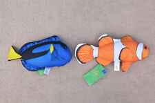 CLOWNFISH & BLUE TANG (Nemo & Dory) pillow stuffed cushion soft toy 29cm 28cm