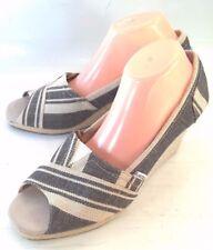 Toms Womens Shoes Heels 220111 US 12 Black Tan Canvas Slip on Peep Toe Wedge