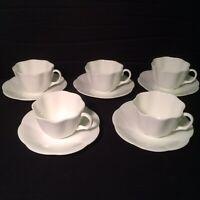 ELEGANT PLAIN WHITE LOT OF 5 TAYLOR AND KENT BONE CHINA TEA CUP & SAUCER MINT