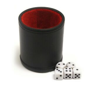 Professional Dice Cup Game with Five Dice Dark Stitched Leather Brand NEW