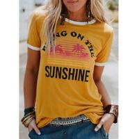 Fashion Womens Summer Crew Neck Yellow Short Sleeve Shirt Top Tee Casual T-Shirt