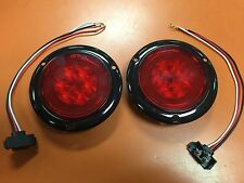"2 RED LED 4"" Round Truck Trailer Brake Stop Turn Tail Lights With Red LENS"