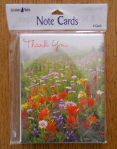8 Leanin Tree Thank You Cards Beautiful Wild Flower Field,Red Yellow Purple Pink