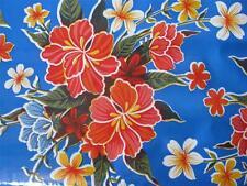 ROYAL BLUE HAWAIIAN LUAU TIKI HIBISCUS FLORAL VINYL OILCLOTH TABLECLOTH 48x96
