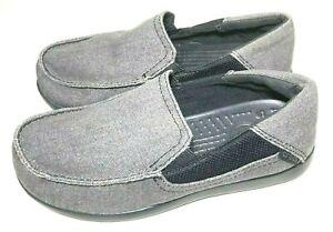CROCS Boys Unisex Size Junior 3 Gray Canvas Slip On Loafers Comfort Fabric Shoe