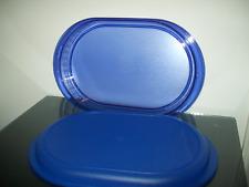 Tupperware Watercolor Deep Serving Tray Sapphire Blue Acrylic Rare New