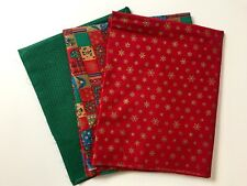 VINTAGE CHRISTMAS FABRIC LOT COTTON RED GREEN SNOWFLAKES ORNAMENTS HOLIDAY 60'S