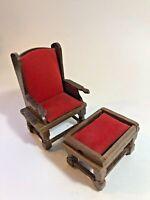 T0270 Dollhouse Miniature HALF Scale 1:24 Modern White Lounge Chair /& Ottoman