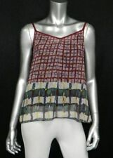 W118 by WALTER BAKER NWT Wine Red Plaid Print Sleeveless Sheer Blouse sz S $108