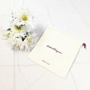 Salvatore Ferragamo Made in Italy Unisex Cream Burgundy Cloth Accessories Pouch