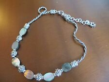 Brighton Retired Silver Plated Mother Of Pearl Gemstone Scroll Links Necklace