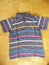 Yigga Kurzarm-Poloshirt Gr. 146/152 ~ braun mit bunten Streifen