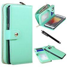 Galaxy Note 7 Premium PU Leather Wallet Bag Zipper Case Card Slots Mint Green