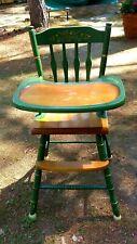Vintage Green Paint Wood High Chair - Oak Hill Furniture, Keene, NH 1970's-80's