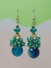 Blue Ball Resin & Crystal Alloy Pendants Fashion Jewelry drop Earrings ED1002