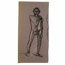 Original Pen Ink Standing Bearded Male Thong Nude Life Drawing Stella Rash c1950