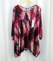 New Ellen Weaver Womens Stitch Fix Floral Stretch Knit Shirt Top Sz 2X Plus Size