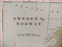 """Vintage 1900 SWEDEN NORWAY World Atlas Map 11""""x14"""" ~ Old Antique STOCKHOLM OSLO"""