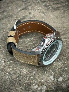 Thick Brown canvas / Leather Watch Strap - 20mm 22mm 24mm 26mm Lug