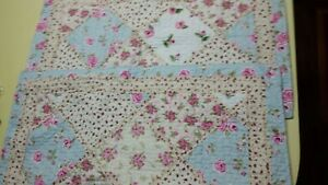 """LIL' DOLLYS  Patchwork Quilted Pillow Shams Set 21""""x36"""" NEW"""