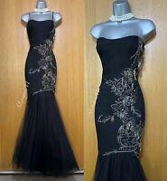 Karen Millen Black Embellished Mermaid Trumpet Wedding Ball Maxi Long Dress UK14