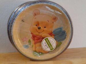 "Hallmark Winnie the Pooh Cake Dessert Plates Disney Baby 8.75"" Pkg of 8 Sealed"