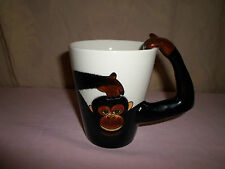 New ! Monkey Chimpanzee Arm Handle Coffee Mug Tea Cup Glass Zoo Animal Chimp