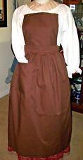 Civil War Dress Victorian Colonial Rev War Brown 100% Cotton Pinner~Bib Apron