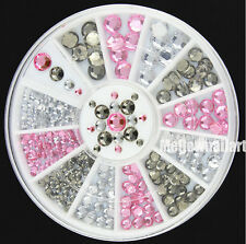#ER35 Acrylic Nail Art Decoration 4 Sizes Black White Pink Glitter Rhinestones