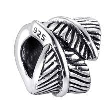 MATERIA Damen Bead Anhänger Feder 925 Silber antik Charm für Armband oder Kette