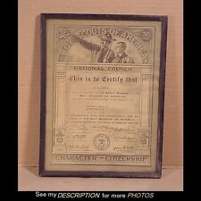 1933 Framed Boy Scouts National Council Adult Member Certificate Chairman Troop