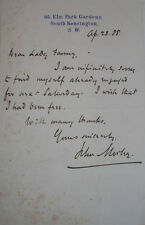 1888 NOTE SIGNED JOHN MORLEY AUTHOR JOURNALIST TO LADY FANNY SPENCER-CHURCHILL