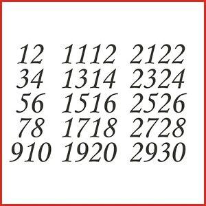 Sticky Back Vinyl Numbers 1-30 Corsiva 10/15/20/30/40/50mm doors signs lockers