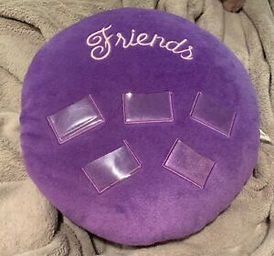 Round Plush Purple Friends Pillow with Photo Holders