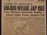 VINTAGE NEWSPAPER HEADLINE ~WORLD WAR 2 OKINAWA JAPAN ISLAND INVASION WWII 1945