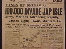 VINTAGE NEWSPAPER HEADLINE~WORLD WAR US ARMY OKINAWA JAPAN ISLAND INVASION WWII~