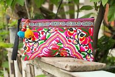Peacock Hmong Clutch Bag Hill Tribe Handmade Bags Tribal Boho Bohemian Purse