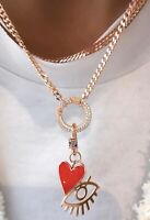 Eye Heart Carabiner Pendant Necklace 925 Silver Charm Cubic Zirconia 14K Gold