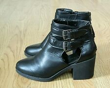 New Look Ladies Open Heeled Ankle Boots Black Size 7 / 40