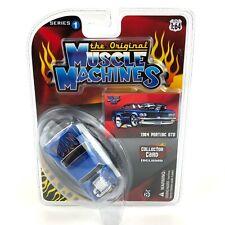Muscle Machines 1964 64 Pontiac GTO Car Blue Flames Diecast 1/64 Scale Original