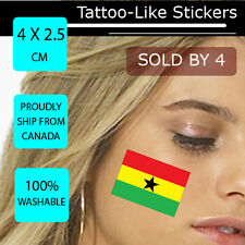 Ghana Face Arm Sticker World Cup 2014 Tattoo Football WC 4X2.5 CM Flag WC