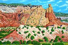 COLORFUL NEW MEXICO GHOST RANCH ABIQUIU 24X36 ACRYLIC PAINTING GALLERY WRAPPED