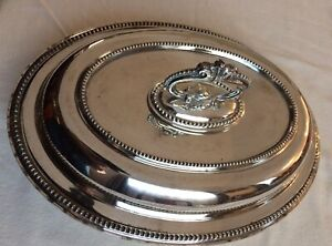 Antique Silverplated Lidded Serving Oval Tureen -Handle- Walker & Hall C 1900's