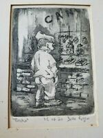 """BROKE by San Francisco Artist ETCHING Signed by Dale Rogers 10x8"""""""