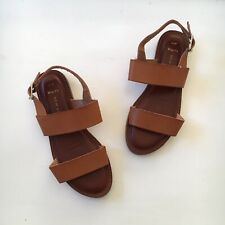 New Look Real Leather Buckle Sandals Tan Brown UK 4 EU 37 Holiday Boho