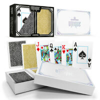 New COPAG UNIQUE 100% Plastic Playing Cards Poker Size Jumbo Index Black Gold