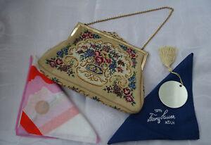 Vintage Abendtasche petit-point-Stickerei und 2 alte Taschentücher aus Stoff